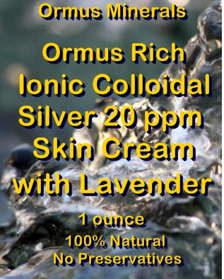 Ormus Mineral -Ormus Rich Ionic Colloidal Silver 20 ppm Skin Cream with LAVENDER