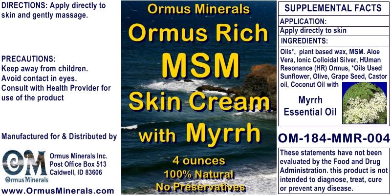 Ormus Minerals Ormus Rich MSM Skin Cream with Myrrh