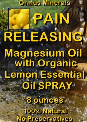 Ormus Minerals -Pain Releasing Magnesium Oil with Organic Lemon Essential Oil Spray