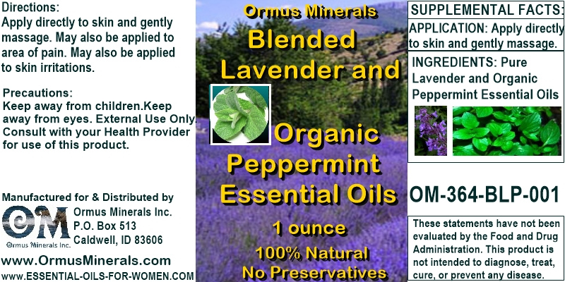 Ormus Minerals - Blended Lavender and Organiuc Peppermint Essential Oils